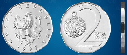 Фото монеты 2 чешских кроны, валюта Чехии
