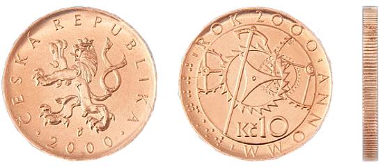 Фотография монеты 10 чешских крон, валюта Чехии металлические деньги в Чехии