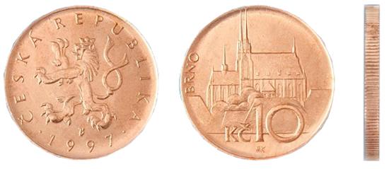 Фотография монеты десять чешских крон, валюта Чехии металлические деньги Чехии
