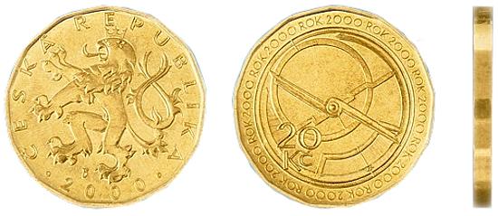 Фотография монеты 20 чешских крон, валюта Чехии металлические деньги в Чехии