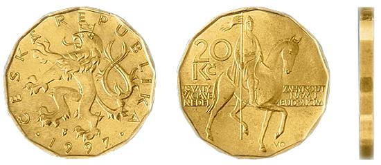 Фотография монеты двадцать чешских крон, валюта Чехии металлические деньги Чехии