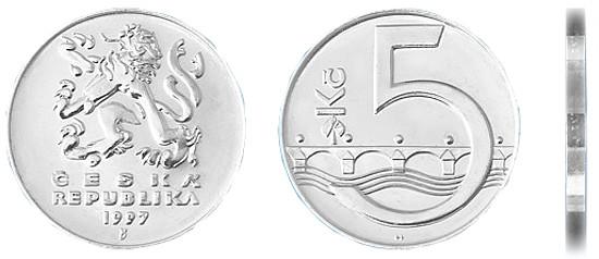 Фотография монеты 5 чешских кроны, валюта Чехии
