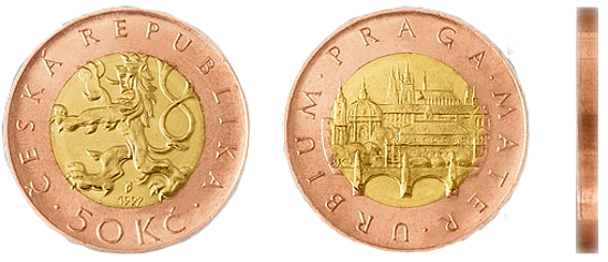 Фотография монеты пятьдесят чешских крон, валюта Чехии металлические деньги Чехии